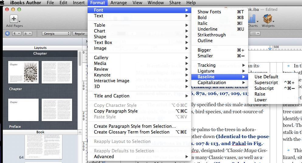 Adding A Superscript in iBooks Author-Apple Left Out A Step